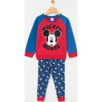 Pijama Infantil Moletom Com Estampa Mickey - Tam 1 A 4