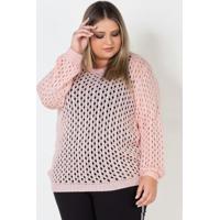 Blusa Plus Size De Tricot Aberto Rosa