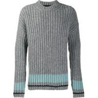 Dsquared2 Suéter Listrado De Tricô Largo - Cinza