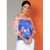 Blusa Floral Bicolor Com Decote Ombro A Ombro