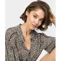 Camisa Cropped Com Amarração Estampa Jaguar - Lez A Lez