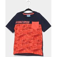 Camiseta Infantil Fakini Hot Wheels Masculina - Masculino-Marinho