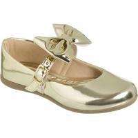Sapato Boneca Envernizado Com Laã§O- Dourado- Mz Kidmz Kid