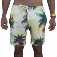 Bermuda Short Tactel E Elastano Opice Moda Praia Estampado Coqueiro Branco