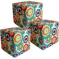 Kit Puffs Lym Decor Quadrado Multicolorido