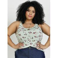 Blusa Floral E Listrada Alças Duplas Plus Size