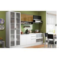 Cozinha Modulada Compacta Com 5 Módulos Yasmin Branco/Preto - Glamy