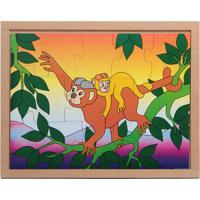 Conjunto De Quebra-Cabeças Animais & Filhotes Macaco- Becarlu
