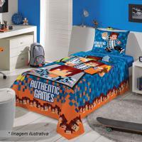 Jogo De Cama Authentic Games® Solteiro- Azul Escuro Lalepper