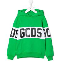Gcds Kids Blusa De Moletom Com Logo E Capuz - Verde