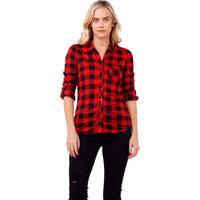 Camisa Xadrez Feminina Rioutlet Com Botões Vermelha