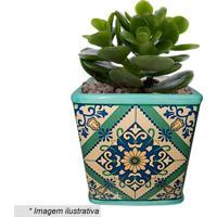 Cachepot Squared Portuguese Tile- Verde & Azul- 11X1Urban