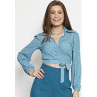 Blusa Poã¡ Com Amarraã§Ã£O - Azul & Branca - Chocoleitechocoleite