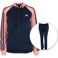 Agasalho Com Capuz Adidas Refocus - Feminino - Azul Esc/Rosa Cla