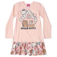 Camisola Manga Longa Bebê Hello Kitty - Feminino-Rosa Bebê