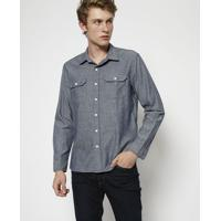 Camisa Jeans Com Bolsos- Azullevis