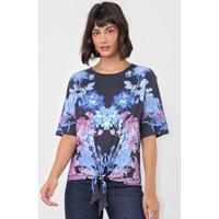 Blusa Desigual Floral Azul-Marinho/Rosa