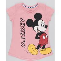 Blusa Infantil Mickey Com Glitter Manga Curta Decote Redondo Rosa