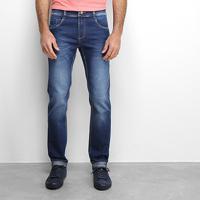 Calça Jeans Slim Sawary Comfort Estonada Masculina - Masculino-Azul