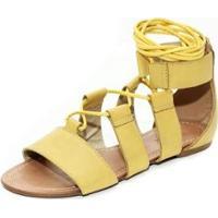 Sandália Gladiadora Top Franca Shoes Feminina - Feminino-Amarelo