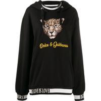 Dolce & Gabbana Blusa De Moletom Com Animal Print E Capuz - Preto