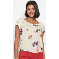 Blusa Floral Com Amarraã§Ã£O- Bege & Rosa- Vip Reservavip Reserva