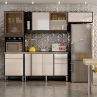 Cozinha Compacta Ágata 8 Pt 4 Gv Grafite E Off White