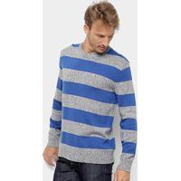 Malha Tommy Jeans Rugby Stripe Sweater Masculina - Masculino-Azul