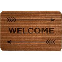 """Capacho Antiderrapante """"Welcome""""- Marrom Claro & Preto"""