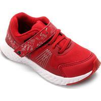 Tênis Infantil No Stress Detalhe Velcro Running - Masculino-Vermelho