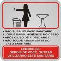Placa De Alumínio Procedimento Sanitário Feminino Preto E Vermelho Sinalize