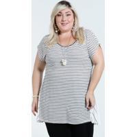 Blusa Feminina Plus Size Listrada Recorte Marisa 4b24922d448