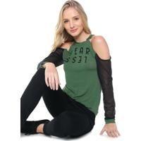 Blusa Odymalhas Off Shoulders Tela Verde/Preta