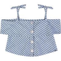 Blusa Listrada- Azul Claro & Brancapuc