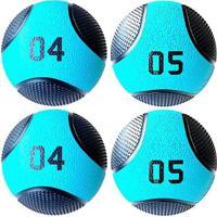 Kit 4 Medicine Ball Liveup Pro 4 E 5 Kg Bola De Peso Treino Funcional - Unissex