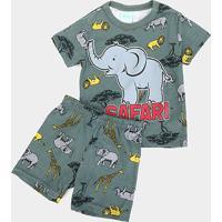 Pijama Infantil Kyly Safari Brilha No Escuro Masculino - Masculino-Verde