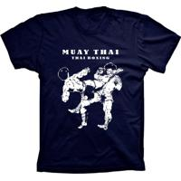 Camiseta Lu Geek Manga Curta Muay Thai Azul Marinho