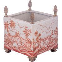 Vaso Quadrado De Porcelana E Bronze – Imperial