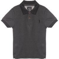 Camisa Polo Aleatory Mini Print Kids Up Masculina - Masculino-Cinza