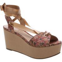 Sandália Plataforma Floral- Nude & Rosa- Salto: 9,5Carezzo & Co.
