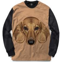 Blusa Bsc Dachshund Dog Full Print - Masculino-Preto
