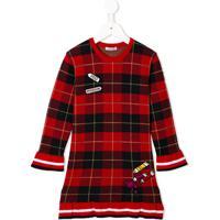 Dolce & Gabbana Kids Vestido Com Xadrez Tartan E Aplicação - Vermelho