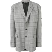 Balenciaga Jaqueta Xadrez Com Abotoamento Único - Preto