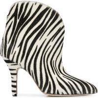 Paris Texas Ankle Boot Com Estampa De Zebra - Branco