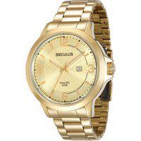 Relógio Analógico Seculus Masculino - 28660Gpsvda2 Dourado
