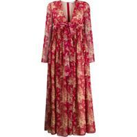 Redvalentino Vestido Gola Alta Red(V) Com Estampa Floral - Vermelho