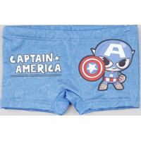 Sunga Infantil Boxer Capitão América Com Proteção Uv50+ Azul