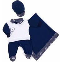 Saída De Maternidade 5 Peças Príncipe Marinho Personalizada