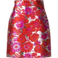 Msgm Metallic Floral-Jacquard Skirt - Vermelho