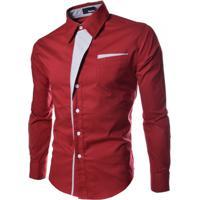 Camisa Estilo Slim Fit Detalhe - Vermelha